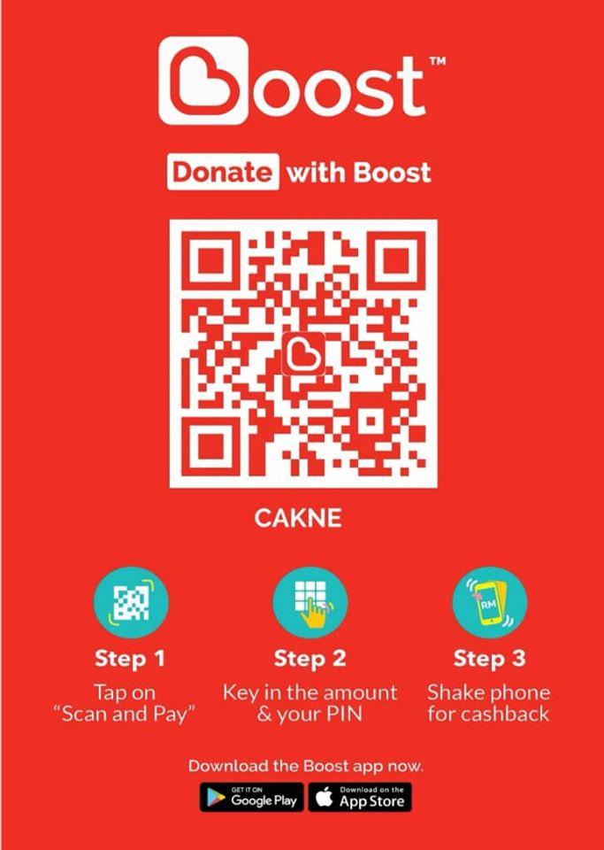 <b>Anda boleh menyumbang dengan BOOST!</b><br> Alhamdulillah. CAKNE telah dimasukkan dalam senarai badan2 kebajikan di platform e-wallet BOOST.  Kepada pengguna BOOST, jemputlah untuk menyumbang kepada CAKNE samada melalui button 'Charities' dalam Apps tersebut atau terus aja scan QR code yang dilampirkan.  Kepada yang belum guna BOOST, jemputlah utk download apps ini dari Google Play Store/ Apple App Store anda.  Jemput juga untuk share mesej ini dengan kenalan anda !